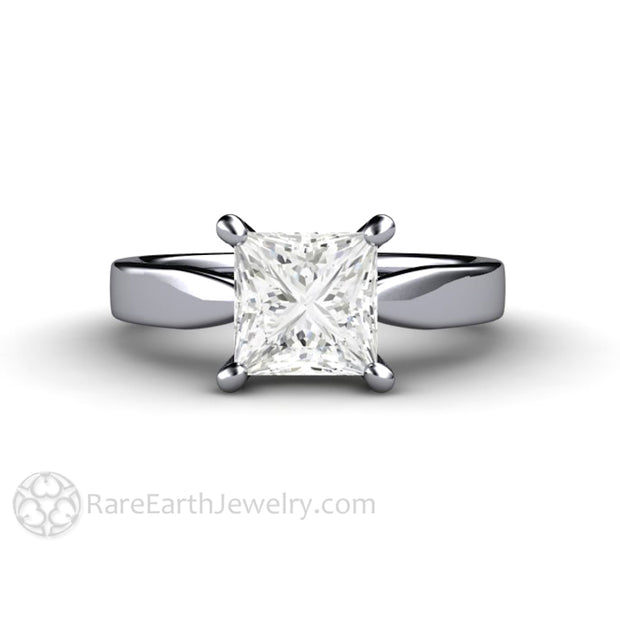 Rare Earth Jewelry Platinum Forever One Moissanite Ring 1.5ct Princess Cut Solitaire Bridal or Wedding Anniversary