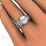 Rare Earth Jewelry Moissanite Wedding Set on Finger Vintage 3 Stone Design Oval Cut Diamond Accented