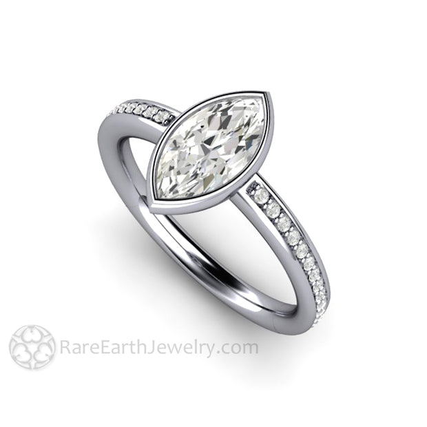 Platinum Moissanite Engagement Ring Marquise Solitaire with Diamond Accents Charles and Colvard Forever One Conflict Free Diamond Alternative by Rare Earth Jewelry