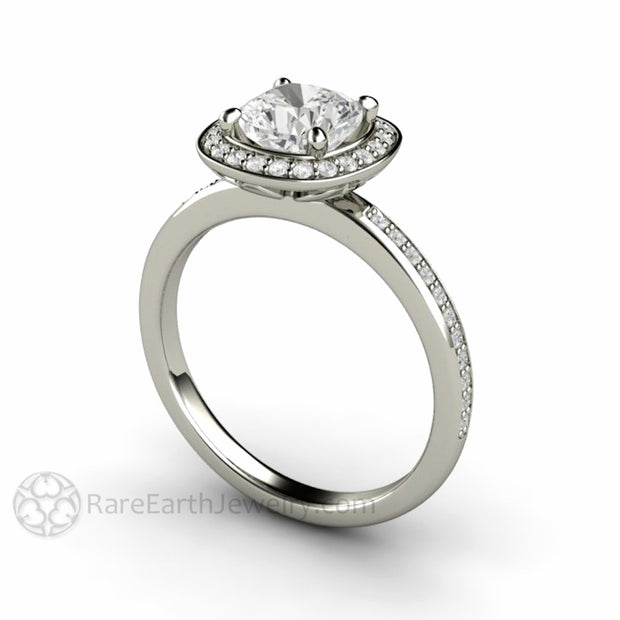 Rare Earth Jewelry Moissanite Ring Cushion Cut Forever One Diamond Halo Setting