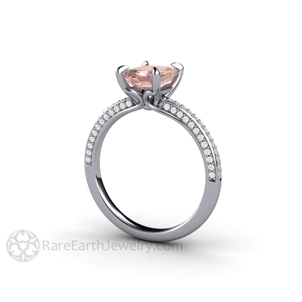 Platinum Pink Sapphire Engagement Ring Emerald Cut with Pave Diamonds by Rare Earth Jewelry