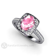 Rare Earth Jewelry Platinum Pink Sapphire and Diamond Wedding Anniversary or Right Hand Ring