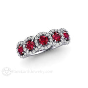 Rare Earth Jewelry Platinum Ruby Ring Anniversary or July Birthstone Right Hand Band Round Cut Halo