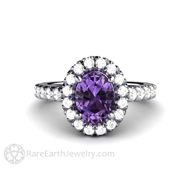 Rare Earth Jewelry Platinum Sapphire Halo Right Hand Ring Oval Cut Purple Stone Diamond Accented