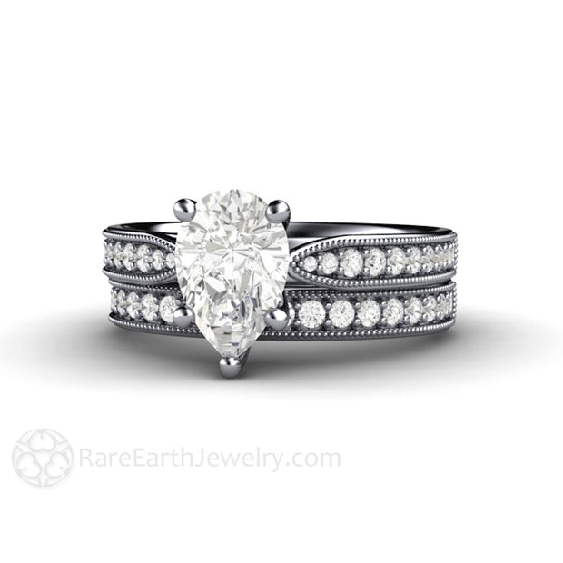 Rare Earth Jewelry Pear Shaped Moissanite Bridal Set Diamond Accented Platinum Setting Forever One