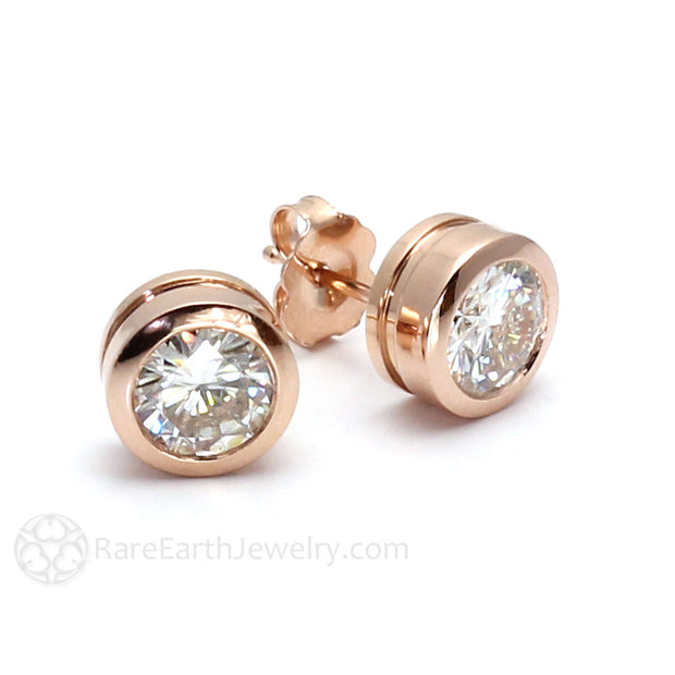 Rare Earth Jewelry Forever One Round Cut Moissanite Earrings Bezel Rose Gold Post Setting