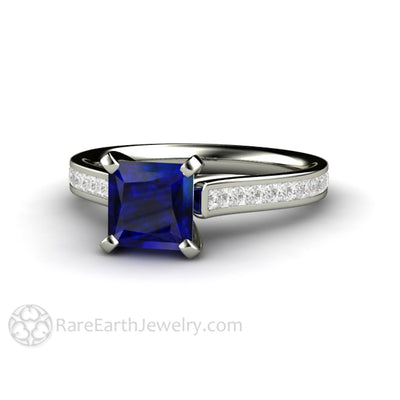 Rare Earth Jewelry Princess Blue Sapphire Anniversary Ring September Birthstone 14K Gold 4 Prong Setting