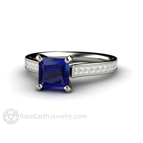 Princess Cut Blue Sapphire Engagement Ring Diamond Accented Solitaire