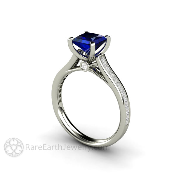 Rare Earth Jewelry Princess Blue Sapphire Engagement Ring with Diamonds Cathedral Solitaire