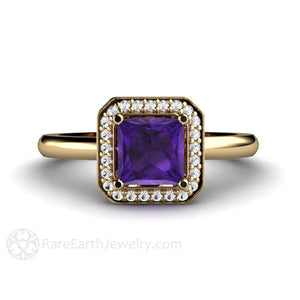 Rare Earth Jewelry Princess Cut Amethyst Engagement Ring