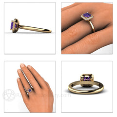 Rare Earth Jewelry Amethyst Ring with Diamonds Princess Cut February Birthstone