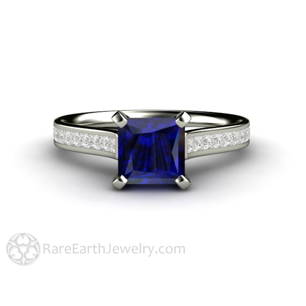 Rare Earth Jewelry Princess Cut Blue Sapphire Engagement Ring Diamond Accented Solitaire