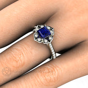 Vintage Inspired Blue Sapphire Ring Diamond Halo on Hand by Rare Earth Jewelry