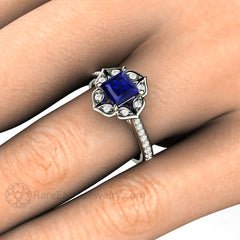 Rare Earth Jewelry Princess Cut Blue Sapphire Vintage Halo Ring on Finger 14K