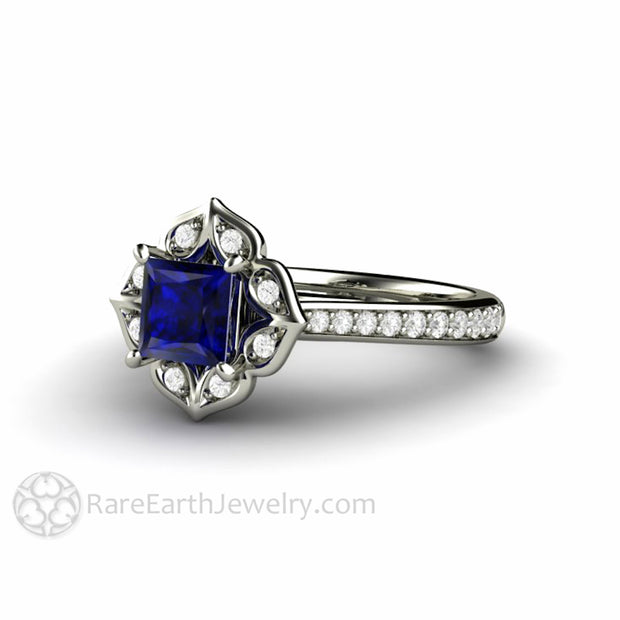 Antique Style Blue Sapphire Engagement Ring or Wedding Ring with Diamonds in 14K or 18K White Gold by Rare Earth Jewelry