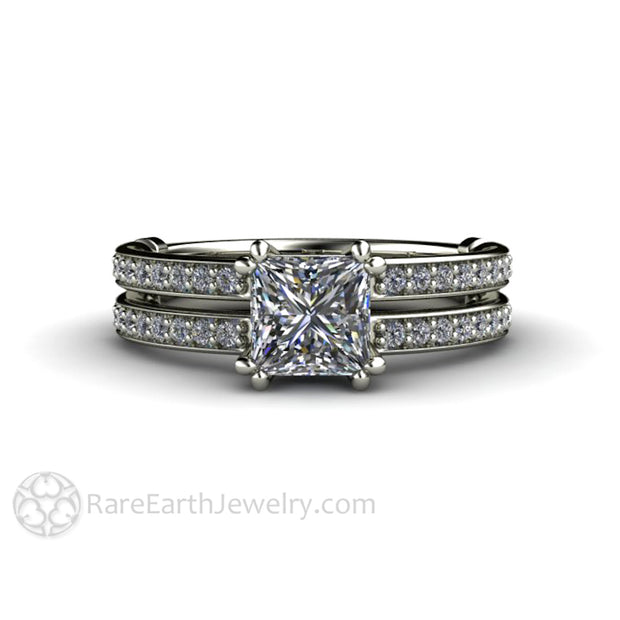 Rare Earth Jewelry Princess Cut Diamond Wedding Ring Double Prong Accented Band 1ct GIA Certified 14K or 18K White