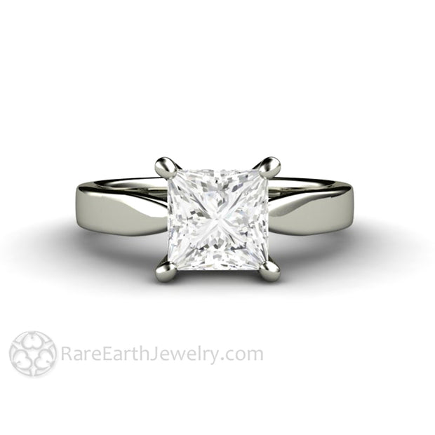 Rare Earth Jewelry Princess Cut Forever One Moissanite Engagement Ring 4 Prong Classic Flat Gold Band