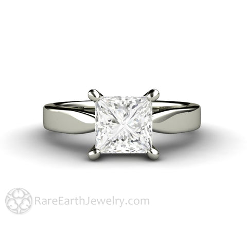 Princess Forever One Moissanite Solitaire Engagement Ring