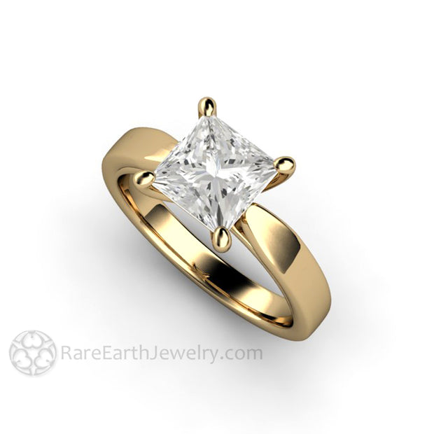 Rare Earth Jewelry Princess Cut Forever One Moissanite Ring 14K Yellow Gold 1.5ct Solitaire Wedding Bridal or Anniversary