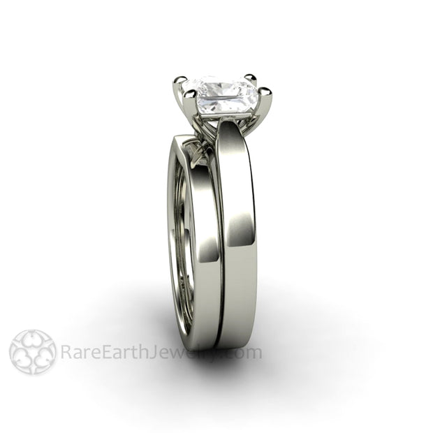 Rare Earth Jewelry Princess Cut Moissanite Solitaire Engagement Ring 1.5ct Forever One 14K or 18K White Gold Bridal Band Wedding Set