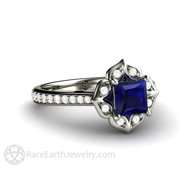 Art Deco Design Sapphire Engagement Ring September Birthstone Ring in 14K White Gold Vintage Halo Setting by Rare Earth Jewelry