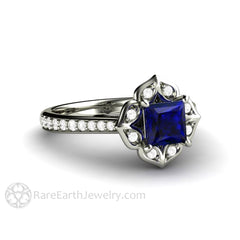 Rare Earth Jewelry Princess Cut Sapphire Engagement Ring 14K White Gold Vintage Halo Setting