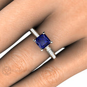 Rare Earth Jewelry Princess Cut Sapphire Right Hand Ring on Finger Diamond Accent Stones 14K or 18K