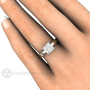 Rare Earth Jewelry Princess Cut Solitaire Engagement Ring on Finger 1.5ct Charles & Colvard Forever One