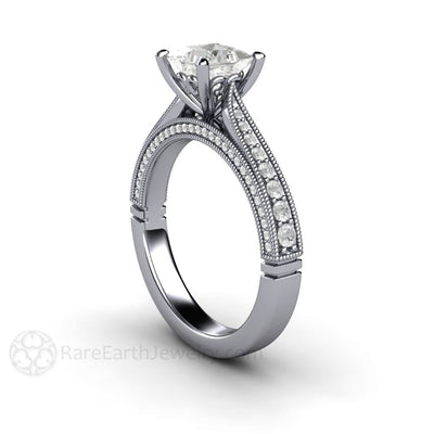 a6caf9ed4 Vintage Inspired 1 carat Princess Diamond Solitaire Engagement Ring ...