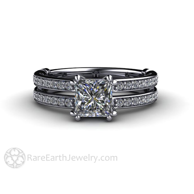 Rare Earth Jewelry Princess Diamond Bridal Set 1ct Engagement Ring Diamond Accented Wedding Band Platinum