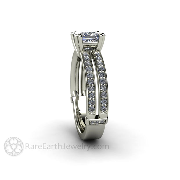 Rare Earth Jewelry Princess Diamond Ring 14K White Gold Diamond Accented Double Band Split Shank