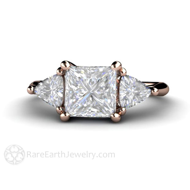 Rare Earth Jewelry Moissanite Bridal Ring Three Stone Setting Princess Square with Trillion Side Stones 14K or 18K Gold