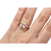 Morganite Bridal Ring on Finger Rare Earth Jewelry