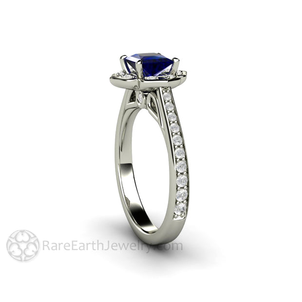 Princess Cut Blue Sapphire Halo Engagement Ring Diamond Accents by Rare Earth Jewelry