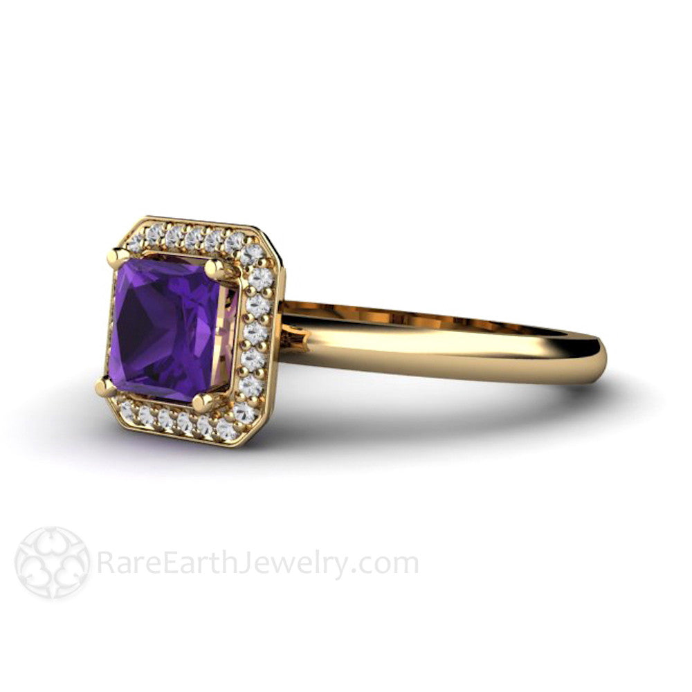 Rare Earth Jewelry Princess Cut Amethyst Ring with Diamond Accent Stones 14K or 18K Gold