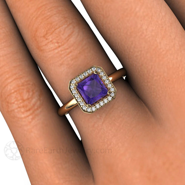 Rare Earth Jewelry Purple Amethyst Princess Cut Halo Ring on Finger