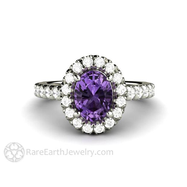 Rare Earth Jewelry Purple Sapphire Engagement Ring 8x6 Oval Cut Diamond Accented