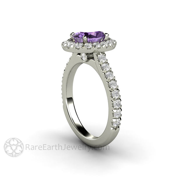 Rare Earth Jewelry Purple Sapphire Engagement Ring French Pave Diamond Halo Setting
