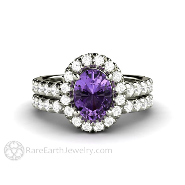 Rare Earth Jewelry Purple Sapphire Engagement Ring with Diamond Wedding Band Bridal Set 14K Oval Halo