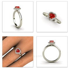Heart Shaped Halo Ring Natural Red Sapphire 14K Rare Earth Jewelry