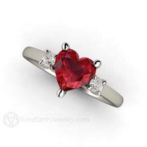 Rare Earth Jewelry Ruby Ring with Diamond Side Stones 14K Gold Heart Cut Gemstone