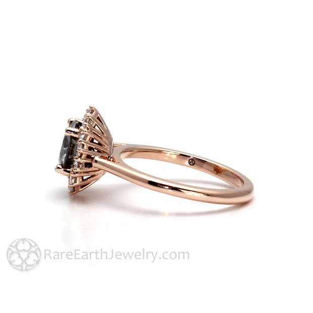 Gray Moissanite Halo Ring Diamond Cluster Ring in Rose Gold by Rare Earth Jewelry