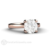 Rare Earth Jewelry Rose Gold Forever One Moissanite Ring 8mm Round Cut Solitaire 4 Prong Setting