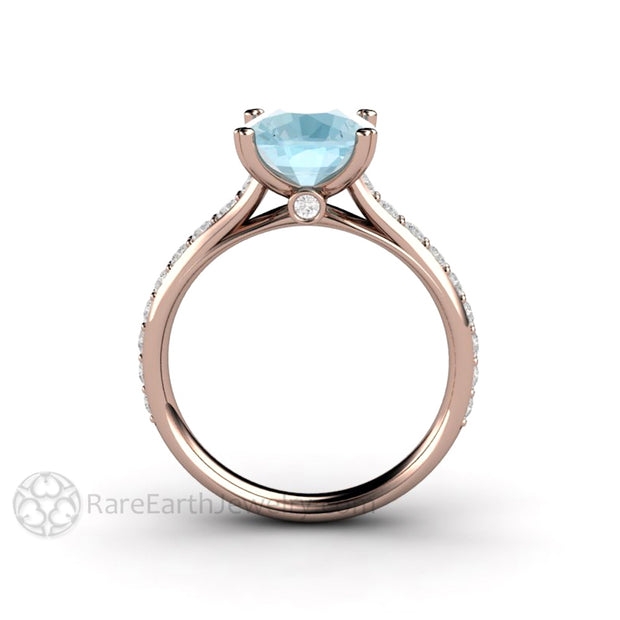 Rare Earth Jewelry Rose Gold 3 Carat Aquamarine Solitaire Engagement Ring Double Prong Diamond Accented