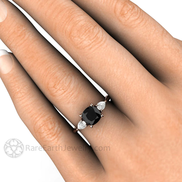 Rare Earth Jewelry Rose Gold 3 Stone Black Diamond Ring with White Sapphires 1.25 Carat Cushion Cut