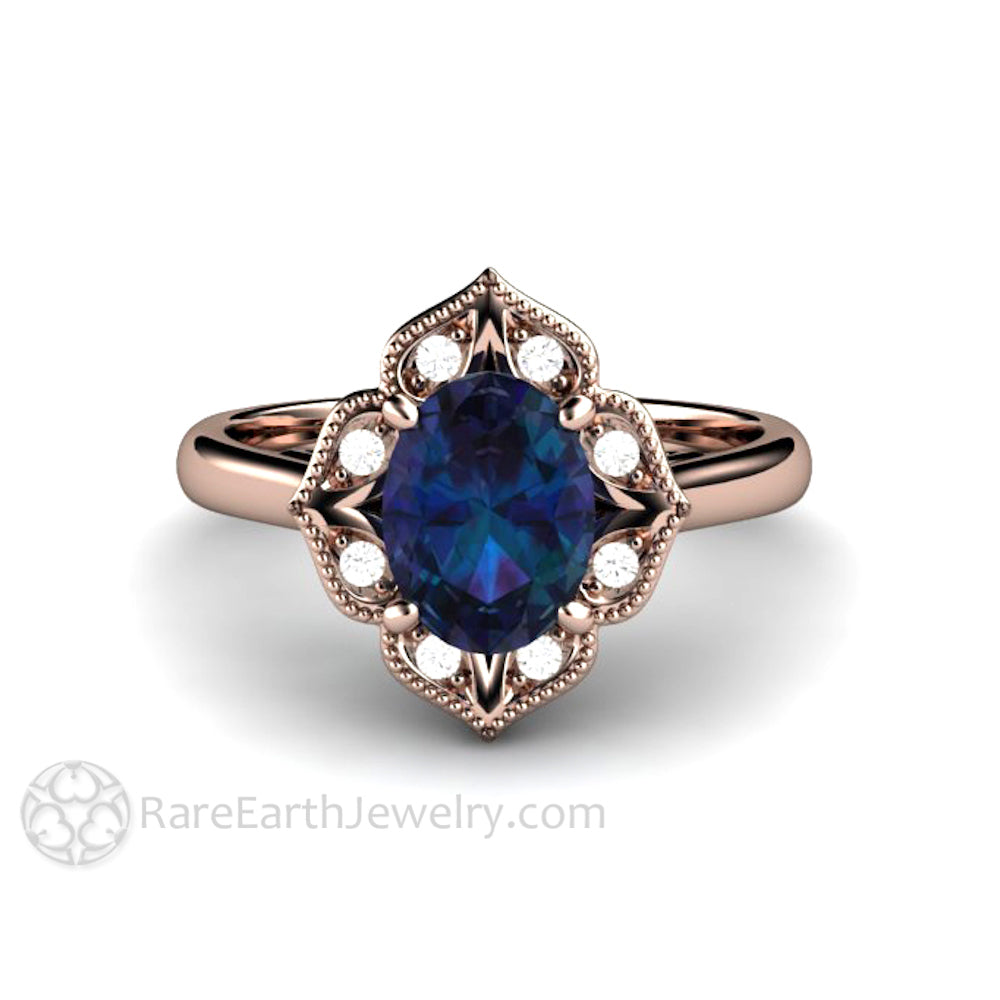 Unique Engagement Ring Oval Alexandrite Ring Art Deco