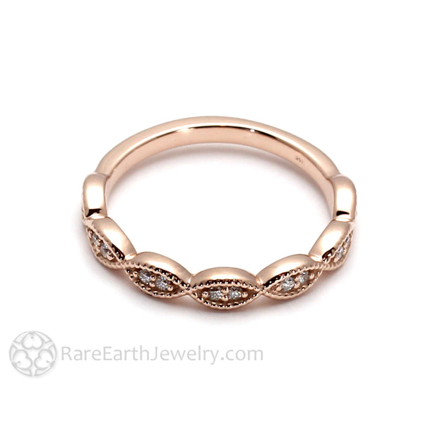 Rare Earth Jewelry Rose Gold April Birthstone Diamond Ring Stackable Band