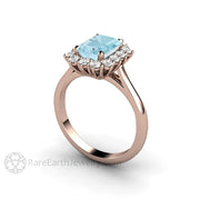 Rare Earth Jewelry Rose Gold Aquamarine and Diamond Bridal Ring 1.5 Carat Emerald Cut