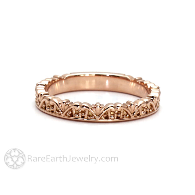 Rare Earth Jewelry Rose Gold Art Deco Filigree Crown Ring Stackable