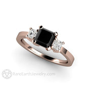 Rare Earth Jewelry Rose Gold Black Diamond Ring Asscher 3 Stone Setting